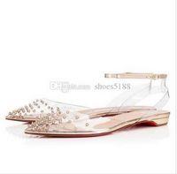 2020 Mode Damen Rote Unterseite Spiked PVC Spikes Flache Ballerinas Schuhe Hohe Qualität Spitze Zehenstöcke Knöchelriemen Frauen Wanderwohnungen EU 42