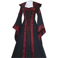 Frauen Retro Vintage Langarm Medieval Renaissance Victorian A-Linie Kleider fz0793