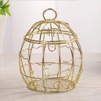 هدية التفاف وصول الزفاف لصالح مربع الإبداعية الذهب ماتيل مربعات الحلوى رومانسية الحديد المطاوع حاملي قفص العصافير للحزب الديكور
