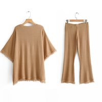 Autumn camel color knitted sweater women tops Za Style O nec...