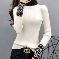 Apertado camisola Básico mulheres magras Sleeved longos das mulheres Camisolas e pulôveres de gola de Slim Sweaters Ladies malha moda