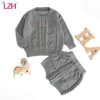 LZH-nascidos Bebés Meninos Clothes Suit Outono Inverno Bebés Meninas Roupas Define Knitting Sweater Cardigan Shorts Outfit Roupa infantil