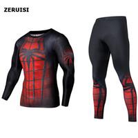 Traje de traje Hombres 3D Impreso Superman Compresión Sudadera Pantalones Traje Gimnasio Fitness Entrenamiento Tight Tricksuits Jogging Baloncesto Sportswear Set
