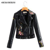 2020 mulheres jaqueta de couro do falso do vintage casaco elegante bordado floral casaco de couro moto do cinturão negro jaqueta de zíper bege