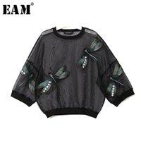 [EAM] 2020 Новая весна осень вокруг шеи длинным рукавом большой размер органзы стежка Трехмерное рубашка Женщины блузка Мода JL958 CX200820