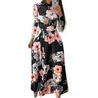 Kadınlar Yaz Elbise Şık Uzun Kollu Parti Elbise Boho Çiçek Maxi Yaka Bandaj Günlük Elbiseler vestidos 3XL Standı yazdır