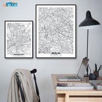 Европа Германия Карта города Мюнхен Франкфурт Берлин Плакат Печать на холсте Картина Стена Картина для гостиной Современные Home Decor