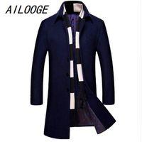 AILOOGE 2020 Moda Herrenwollmantel Schal Zweiteilige beiläufige lange Mantel-Männer Baumwolle Winter-Slim Fit Hombres Jacke