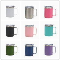12 oz doppelwand edelstahl tassen mit Griffe vakuumisolierte kaffeetassen seite lack kreative tumbler einfache hause wasser cup