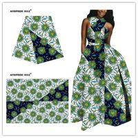 Tissu African Ankara Grossiste Fleur d'Afrique de haute qualité 100% véritable coton Brocart Cire Tissu pour les vêtements A18F0638