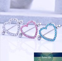 Ниппель щит Кольца Штанги Love Heart медицинский из нержавеющей стали CZ Алмазный Rhinestone сосков пирсинг ювелирные изделия Розовый Синий Белый