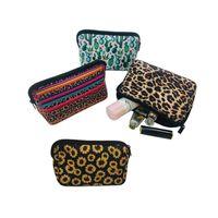 Макияж сумка Подсолнечное Leopard печати мешок перемещения неопрена туалетные сумки Lady Косметические сумки для монет телефон сумка для хранения YFA2453
