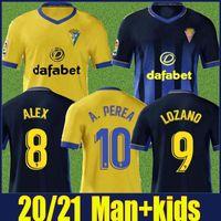 2020 Camiseta de Cádiz kit hombres hijos Jersey LOZANO ALEX BODIGER camiseta de fútbol Cádiz CF A.PEREA I.ALEJO FALI JUAN CALA camiseta de fútbol 20/21