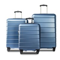Blue 3 pezzi di bagaglio, trolley leggero 20/24/28 pollici, estendibile rotazione della cassa dei bagagli ruote, a scomparsa, noi magazzino