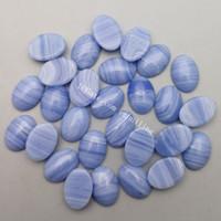 50Pcs Wholesale Lot Smooth Polished 13*18mm Oval Flat-back Blue Lace Agate Rock Crystal Cabochon CAB Jewellery Making Semi-Precious Gemstone