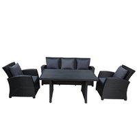 Бесплатная доставка Открытого Патио Мебель Набор 4-Piece Set Black Диалог Плетеной мебель диван с темно-серыми подушками WY000055AAB