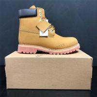 أفضل نوعية الرجال النساء كلاسيكي أصفر أحذية مضادة للماء عادية مارتن التمهيد السامي قطع الثلج أحذية المشي لمسافات طويلة الرياضة مدرب حذاء حذاء رياضة مع صندوق