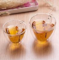 مزدوجة الجدار الزجاجي القهوة الأقداح القلب شفاف على شكل حليب الشاي الكؤوس 180ml 240ml حليب الشاي الكؤوس هدايا رومانسية KKA8003