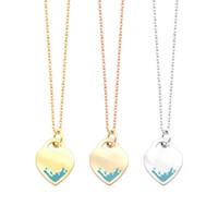 Moda in acciaio inox t lettera pesca cuore verde rosa oro argento collana commercio estero ladies love collana pendente per donna