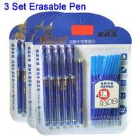 Penas de gel Delvtch 0.5mm 3 conjunto Erasable terno caneta azul / preto recarga de tinta e para as ferramentas de escrita de escritório estudante de escola
