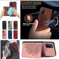 Cas de cuir de voiture magnétique pour Samsung M30S A21 A81 A91 S20 Ultra A51 A71 A10S A20S Xiaomi Poco X3 NFC ID Card Slot Stand Stand Cover