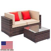 Gradient brun moderne Stretch Cover Tisser le canapé en rotin avec canapé de coin 2pcs 1 PCS Table basse