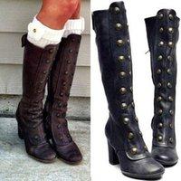Stiefel damen frauen beiläufige kniehohe mode seite zip booties heels retro schuhe frauen