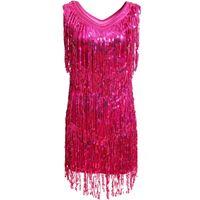 Etapa Use Latin Dance Dress Barrasseles Fringe Raver Costume V Cuello Sin mangas Ballroom Samba Tango Sparkling Lechuga Mujer Señoras Spandex