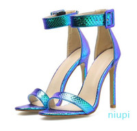 Hot Sale-big size 35 to 40 41 42 sexy blue ankle strap woman designer high heel sandals silver wedding shoes come with box