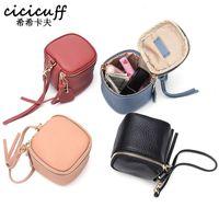 أكياس التجميل cicicuff السيدات جلد طبيعي حقيبة أزياء حالة ماكياج النساء مخلب مصغرة حقيبة أدوات الزينة