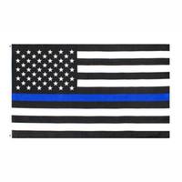 fabbrica diretta 3x5Fts all'ingrosso 90cmx150cm Law Enforcement Officers polizia sottile linea blu USA US American Flag AHB1088