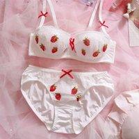 Mignon Fraise dentelle en mousseline de soie japonaise Soutien-gorge culotte Set Sous-vêtements doux sommeil Underwire Intimates Set Kawaii Lolita