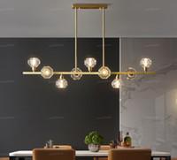 Nuevo restaurante abierto todo el cobre araña de iluminación llevada barra de cristal nórdica lámparas sencilla moderno restaurante casa Nakajima araña