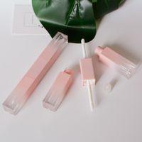 6ml cor-de-rosa laber garrafas de brilho vazio bordos quadrados bíimos recipiente de óleo plástico cosmético tubos de maquiagem