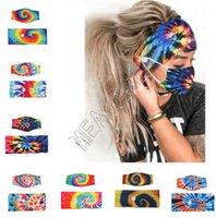 Конструкторы маска держатель ободки с кнопкой Hairband Tie Dye Маски для взрослых Моды Спирали Эластичных Масок Головные Bands волос Аксессуар D81808