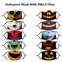Хэллоуин маски Многоразовые 3D Картина тыквы Grimace Cotton маска многоразового Protective PM2.5 Угольные фильтры Маски Washable для взрослых Дети Face