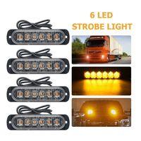6 LED 스트로브 라이트 트럭 경고등 12-24V 범용 비상 LED 빛 자동차 SUV 차량 오토바이