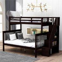 에스프레소 계단 트윈 오버 전체 이층 저장 및 가드 레일 침실 기숙사 키즈와 함께 침대 및 성인은 침대 LP000019AAP 잠자는