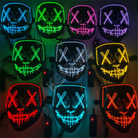 LED Full Face Masques Halloween Designers effrayant Glowing masque d'horreur Purge Visage Couverture INS Costume DJ Party Light Up Masques Glow In Dark D81805