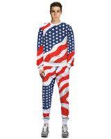 Europäische 2020 und amerikanische Mode-Flagge Muster 3D Pullover Anzug Jogginghosen für Männer Sport und Freizeit Tracksuits