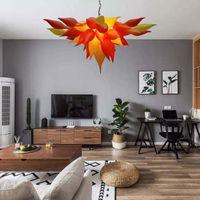 Moderne Kronleuchter LED Lichtquelle Mund Geblasenes Glas Pendelleuchte Leuchten Sonnenuntergang Orange Gelbe Hängelampe Home Innenlicht Für Verkauf