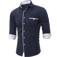 New Spring Autumn Mens Long Sleeve Slim Fit Male Casual Shir...