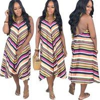 Striped Pescoço V Impressão Backless Assimétrico Vestidos Mulheres Verão roupas de verão Mulheres Desigenr Vestidos Casual Halter
