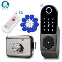نظام التحكم بصمات الأصابع قفل الباب الذكية الرقمية أقفال إلكترونية لاسلكية وصول DIY كيت RFID لوحة المفاتيح البطارية عن بعد
