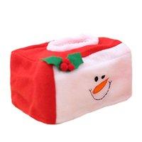Décorations de Noël Rouge 16x10cm Tissu Coffret Tree Santa Claus Bonhomme de neige Chrismtas pour porte-serviettes à domicile