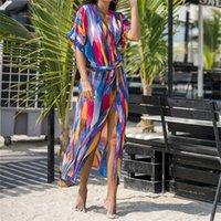 Повседневные платья 2021 Разноцветные Богемные напечатанные с коротким рукавом Самопоречение летнее пляжное платье шифон Туника женщин Beachwear Sarongs Plage N8