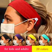Niños Niños de algodón Cinta de cabeza con el botón para protección de cara máscara cubierta elástica del oído Máscara D8506 Deportes GYM Pañuelo de cabeza accesorios para el cabello para adultos