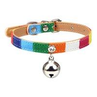 Sencilla Lona Color PU cuero collar de Bell del gato perrito del gato collares para perros pequeños Chihuahua Yorkies cuello Accesorios