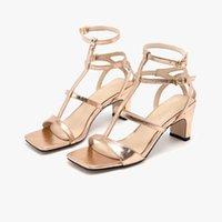 Zapatos de vestir Gladiador de oro Sandalias de Gladiador de oro 2021 Roma Estilo Banda estrecha Correa de tobillo Para Mujer Verano Casual Mujer Sólido FT408