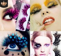 100Pairs lot Multi Speckle Colorful Feathers False Eyelashes Stage Peacock Spots Eyelash Cosmetic Applicator HA485